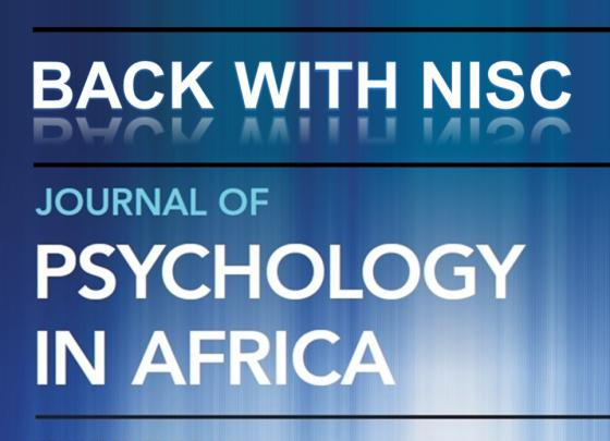 Journal of Psychology in Africa - back with NISC