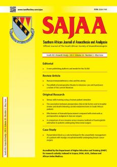 Southern African Journal of Anaesthesia and Analgesia